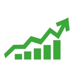 bar graph with arrow icon vector image