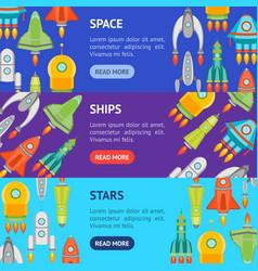 cartoon space ship or rocket banner horizontal set vector image vector image