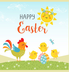 easter design of cute happy chicks vector image vector image