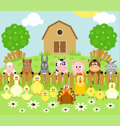 farm background with funny animals vector image