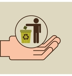 hands care environment recycle trash vector image vector image