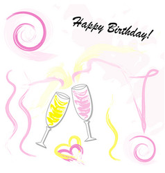 happy birthday card with champagne glasses vector image