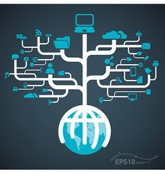 network globe worldwide vector image