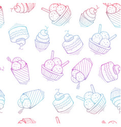 seamless ice cream colorful pattern hand-drawn vector image