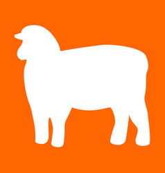 sheep silhouette white icon vector image vector image