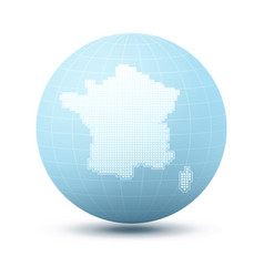 silhouette of france on blue sphere vector image vector image