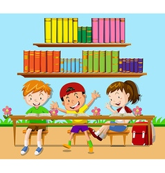 Three students leaning in classroom vector image vector image