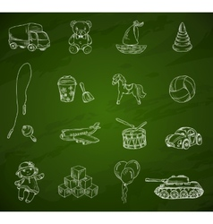 Toys chalkboard sketch set vector image