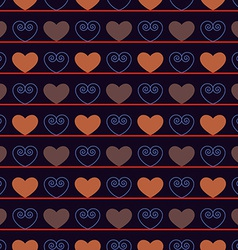 Vintage Seamless Pattern with Hearts vector image vector image