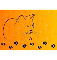 black silhouette of cat on the orange vector image