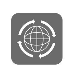 customer service icon with globe sign vector image vector image