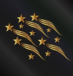 Gold stars waves vector image vector image