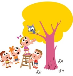 Kids Rescuing a Cat vector image