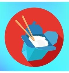 Rice wok carton box chopsticks vector image