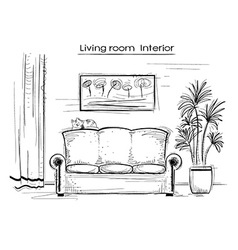 Sketchy interior of living room hand drawing vector image vector image