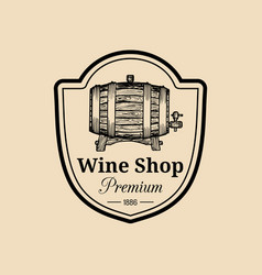 wine logo winery sign with wooden barrel vector image