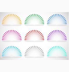6 color semi circle starburst sunburst elements vector image