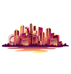 Abstract glowing city vector