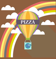 air balloon pizza delivery flat design vector image