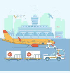 Airport aircraft terminal and airplanesineart vector
