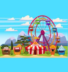 Amusement park a landscape with a circus vector
