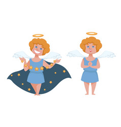 angelic boy with wings and halo cupid or angel vector image