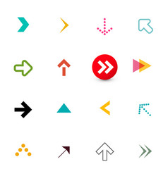 Arrow colorful flat arrows icons set for app vector
