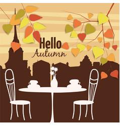 autumn landscape street cafe autumn leaves vector image