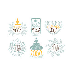Ayurvedic yoga labels set enjoy yoga studio hand vector