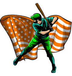 Baseball player with american flag vector