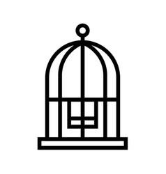 Bird cage line vector