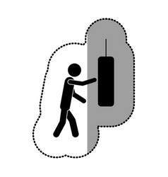 black person knocking punching bag vector image