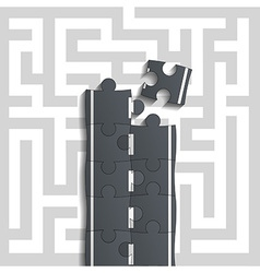 Bridge of puzzles through the maze vector image