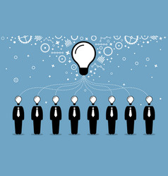 Business people combining their ideas minds vector