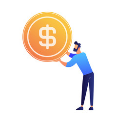 businessman holding a huge dollar coin vector image