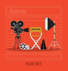 Camera director chair and spotlight flat vector