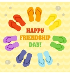 Card for Happy Friendship day Rainbow flip flops vector
