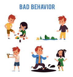 Cartoon boy with bad behavior kicking toys aiming vector
