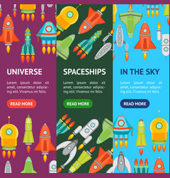 cartoon space ship or rocket banner vecrtical set vector image