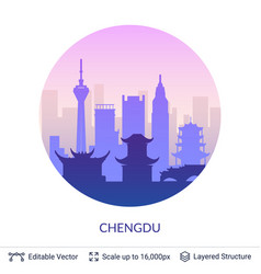 chengdu famous china city scape vector image