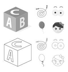 Children toy outlinemonochrome icons in set vector