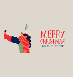 christmas banner of couple selfie under mistletoe vector image