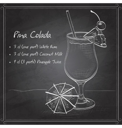 Cocktail Pina colada on black board vector image