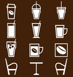 Coffee drinks icons in coffee shop vector