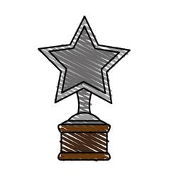 Color crayon stripe image cartoon trophy with vector