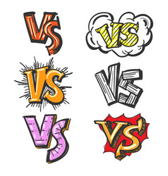 colorful cartoon vs labels vector image