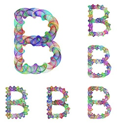 Colorful ellipse fractal font - letter B vector