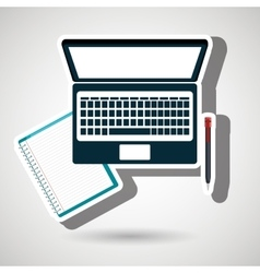 computer and book isolated icon design vector image