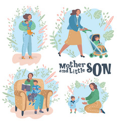 creative set showing a mom and son scenes vector image