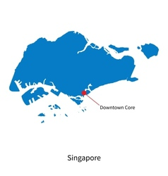 Detailed map of Singapore and capital city vector image